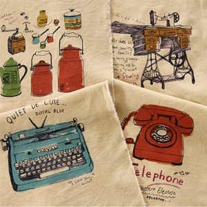 Free Shipping! Vintage Telephone Typewriter Recorder Linen Cotton Blended Home Deco Fabric - 140cm x 88cm