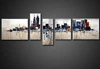 [funlife]-5pcs/set Free shipping  Pure Hand Painted Elegant City Impression Landscape Abstract Canvas Oil Painting with Frame