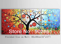 "[funlife]-80x60cm(32""x24"")3pcs/set Free shipping Hand Painted Attractive Tree Canvas Oil Painting with Frame for Living Room"