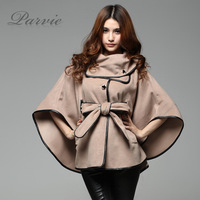Free Shipping 2013 autumn dovetail women's wool coat outerwear cloak cape PU trench outerwear