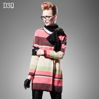 Autumn new arrival d3q2013 multicolour stripe sweater long-sleeve cardigan outerwear long design sweater