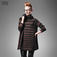 D3q2013 long design sweater dress loose turtleneck sweater female basic thick sweater female