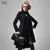 D3q2013 spring and summer woolen overcoat long design black woolen outerwear scarf female outerwear