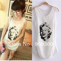 Free shipping Monroe print chiffon vest spaghetti strap basic shirt gauze cotton patchwork slim sleeveless T-shirt