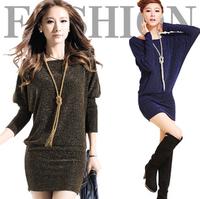 Women's Clothing Dresses New Fashion new 2015 Plus Size Casual Dress Womens Novelty Dress Vestidos Sweater Knee-Length Dress