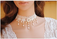 Free shipping DIY original fairy princess Charm Necklace Pearl Necklace delicate lace collar chain white loose south sea pearl
