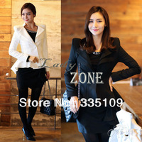 2013 Hot Sale elegant Women White Black Casual Suit One Button Suit Blazer Jacket Swallowtail Style S,M,L 7444