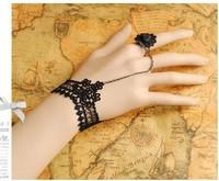 Ladies DIY promise lace female Bracelet Wristband retro Princess Palace Rococo style ring black onyx bracelet