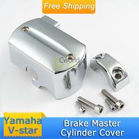 Free shipping Chrome plated aluminum Reservoir Brake Master Cylinder Cover fit Yamaha V-star