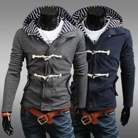 2014 hot sale autumn and winter with a hood men sweatshirt male cardigan men slim outerwear