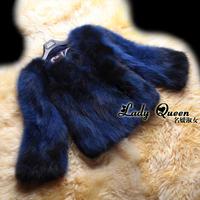 Fashion Women's 100% Genuine Raccoon Dog Fur Short Design Over Coat