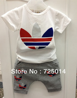 Children's clothing male female child summer child 2013 children boys short-sleeve capris shampooers twinset baby set