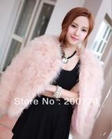 Fashion Women's Genuine Fur Outerwear Lady Ostrich Wool Short Design Female Fur Coat