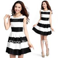 Fashion stripe mosaic slim sleeveless women dress 58108