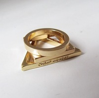 ZH0663 high quality 18k gold plated Metal Geometry Polygon Round Triangle Square Ring set