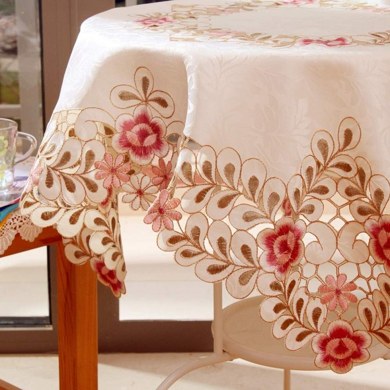 Furnishings rustic table cloth fabric round table cloth tablecloth dining table cloth table cloth embroidery pink rose(China (Mainland))