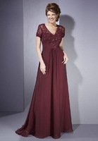 chiffon and lace v-neck a-line long mother of the bride dress