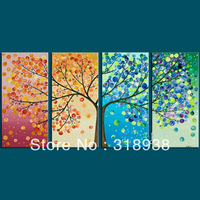 Framed Hand-painted money tree modern 4pcs  group painting  modern home decoration oil painting/Free shipping/Sailing Art/sa-868