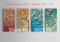 "[listed in stock]-40x80cm(16""x32"")4pcs/set Free shipping Pure Hand Painted Tree of 4 colors Canvas Wall Oil Painting with Frame"