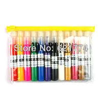 Hot Selling 12 Colors DIY UV Gel Acrylic 3D Nail Art Painting Polish Pen Set Nail Lacquer Gift Free Shipping