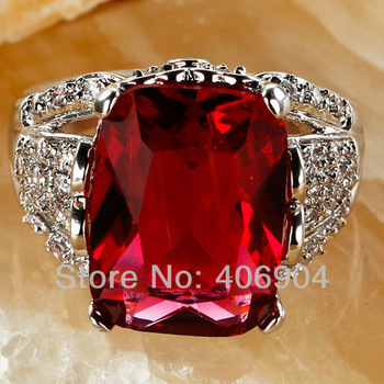 Wholesale Dazzling 658R6-8 Irregular Cut Garnet & White Topaz 925  Silver Ring Size  8 Free shipping