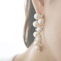 Free shipping new fashion accessories elegant grape bunch pearl crystals earrings for women E241