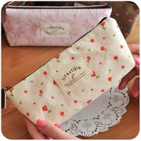 Small fresh zakka canvas pencil case stationery bags cosmetic bag