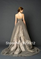 2014 Vera Couture Grey Tulle Ball Gown Strapless Off Shoulder Elegant Formal Long Floor Length Evening Dresses Prom Ball Gown