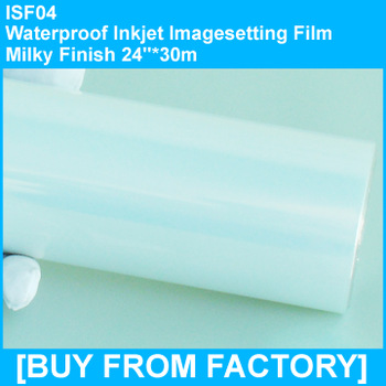 "High Quality Plate-making Waterproof Inkjet Film Milky Finish 24""*30m"