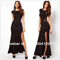 Free shipping Loose Low-key Lace Luxury Long Evening dress Party Dress Sexy Side Slits Dress  XS,S,M,L,XL,XXL