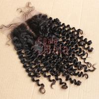 "Balabala Hair Products Lace Top Closure Brazilian Virgin Hair Deep Curly Lace Top Closure (4""*4"") ,8""-24"" natural Color"