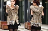 Women Genuine Knitted Rabbit Fur Vest with tassels Raccoon Dog Fur Trimming collar Waistcoat Hoodie vest gilet in stock