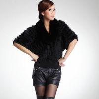 Free shipping Women Genuine Knitted Rabbit Fur jacket fashion fur coat with fox fur collar coat
