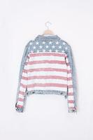 Free PP Hot Sell ! fashion star flag printed pattern denim jacket /denim clothing for women -OS06