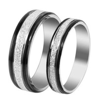 Fashion Jewelry Stainless Steel Couple Lover Rings Dull Polish Surface Black Edge Circle Finger Fadeless Ring For Lovers' Gift