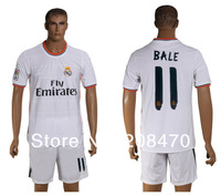 13 14 New Season Real Madrid sports uniform #11 BALE white home soccer club jersey for men football embroidery brand name shirts