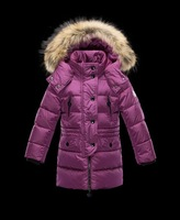 Retail girls winter long down jacket high quality free shipping in stock