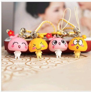 New 3cm Cartoon Dolls Free Shipping Mushroom Dot Accessories Lovers Mobile Phone Chain/Bag Charm/Cell Phone Keychain Straps(China (Mainland))