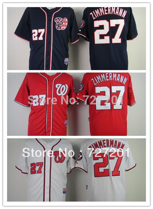 Free Shipping Wholesale Cheap Men's Washington Nationals #27 Jordan Zimmermann White Blue Red Cool Base Jerseys,Embroidery Loges(China (Mainland))