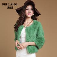 Free shipping 2014 new fashion  o-neck three-quarter rabbit fur outerwear women's short design raccoon fur coat