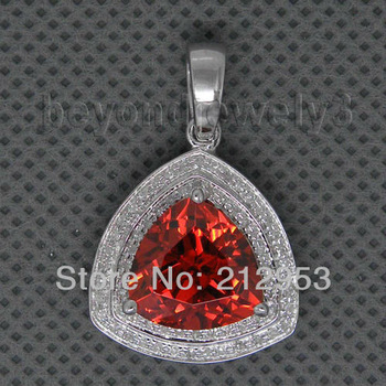 Jewelry Sets Vintage Trillion 11mm 14Kt White Gold Diamond Red Garnet Pendant CA0055