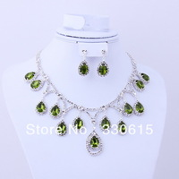 dubai african women girl silver plated jewelry rhinestone green zircon dropcrystal necklaces jewelry set from indian