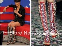 Knee High Gladiator Sandals Boots Vintage Brand Summer High Heel Gladiator Sandals Women