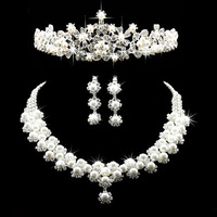 Free shipping bride accessories pearl wedding hair accessory sparkling princess wedding accessories set three pieces set LYC