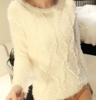 2013 new fashion lace patchwork sweater mohair sweater long sleeve o-neck Pullover Sweater free shipping xc-515