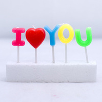 Free shipping for I LOVE U candles,wedding candle, birthday candles,Romantic  gift smoke-free candles