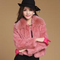 Free shipping 2014 autumn and winter fur rabbit splice fur fox collar short design fill- sleeve rabbit fur coat