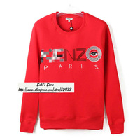 2013 Autumn Famous Brand Kenz* Paris Hoodies Sweatshirts Embroidery Big Eyes O-Neck Fleece Lovers Pullovers Free shipping