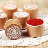 Zakka style Novelty lace series wood round stamp 6 designs