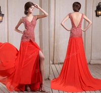Free Shipping Sheath Side Slit V-Neck Floor Length Chiffon Latest Prom Dress With Beadings POD-5555